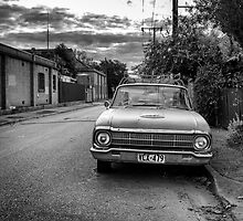 An old cars is left to decay in the backstreets of Adelaide. by Nicholas Griffin