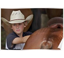 A young Cowboy among the Horses Poster
