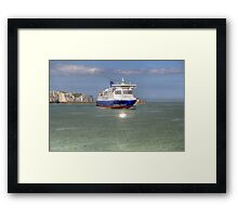 saying goodbye to the white cliffs of Dover  Framed Print
