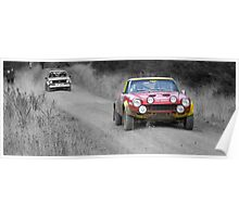 Fiat 124 Abarth Rally Car (splash of colour) Poster