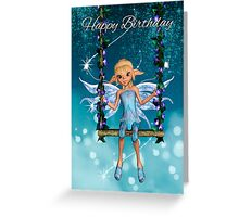 Happy Birthday cute fairy on flower swing Greeting Card