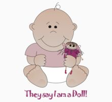 Cute Baby girl with doll and text Tee Kids Tee