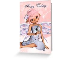 Fairy Birthday Card With Little Bird, Rabbit And Butterfly Greeting Card