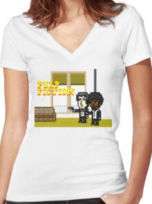 Pixel Pulp Fiction Women's Fitted V-Neck T-Shirt