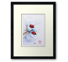 """""""companions""""  ladybugs mixed media painting - watercolor, ink, colored pencil Framed Print"""
