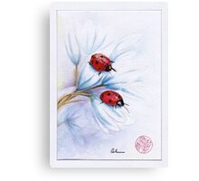 """""""companions""""  ladybugs mixed media painting - watercolor, ink, colored pencil Canvas Print"""