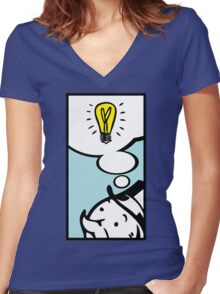 Moneybag's Bright Idea Women's Fitted V-Neck T-Shirt