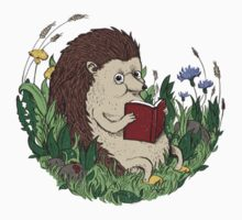 Hedgehog Reading A Book Baby Tee