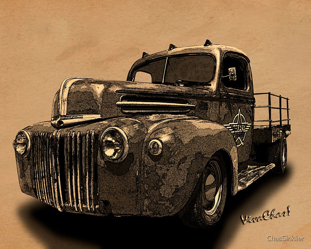 Rat Rod Flatbed 46 Ford Cross-Hatch Drawing Print from VivaChas! by ChasSinklier