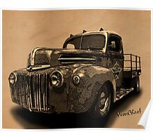 Rat Rod Flatbed 46 Ford Cross-Hatch Drawing Print from VivaChas! Poster