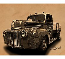 Rat Rod Flatbed 46 Ford Cross-Hatch Drawing Print from VivaChas! Photographic Print