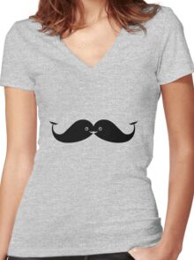 Kawaii Mustache or Cute Whales? Women's Fitted V-Neck T-Shirt