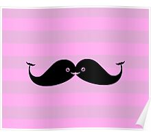 Kawaii Mustache or Cute Whales? Poster