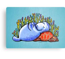 Sea Turtle and Manatee Metal Print