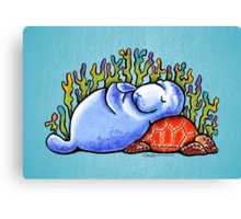 Sea Turtle and Manatee Canvas Print