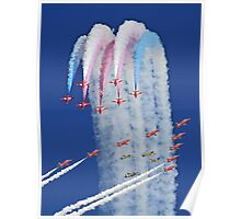 """Red Arrows And """"Eagle Squadron"""" Montage -  Duxford 26.05.2013 Poster"""