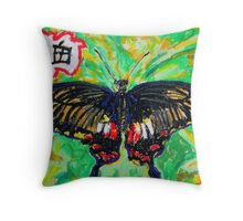 Chinese Swallowtail Butterfly Good Fortune Throw Pillow