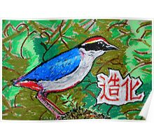 Chinese Nature Fairy Pitta Good Fortune Poster