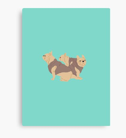 Teal French Bull Dogs Canvas Print