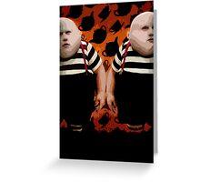 Alice in Wonderland Tweedledum and Tweedledee Multi-Layer Stencil Vector Greeting Card