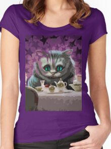 Alice in Wonderland Cheshire Cat Multi-Layer Stencil Vector Women's Fitted Scoop T-Shirt
