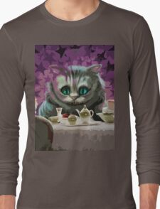 Alice in Wonderland Cheshire Cat Multi-Layer Stencil Vector Long Sleeve T-Shirt