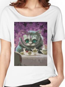 Alice in Wonderland Cheshire Cat Multi-Layer Stencil Vector Women's Relaxed Fit T-Shirt