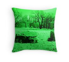 Neon Green Boulders Throw Pillow