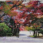 Autumn Leaves in Nara - Moku Hanga by GryffinDesigns