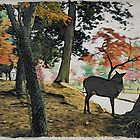 Deer in the Woods - Moku Hanga by GryffinDesigns