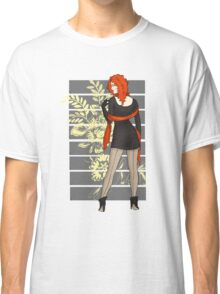Red Flower Winter Pinup Classic T-Shirt