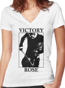 Victory Rose in Black Women's Fitted V-Neck T-Shirt