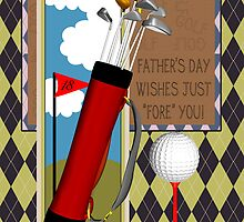 Golf Club Father's Day Greeting Card With Argyle Pattern by Moonlake