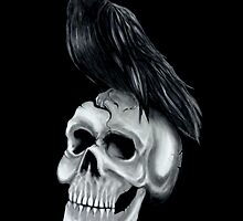 Skull and Raven Digital Drawing by homiluis