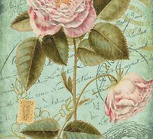 French Rose Bloom & Ephemera - French Script - Vintage Rose Notecard - Second in Series by traciv