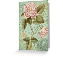 French Rose Bloom & Ephemera - French Script - Vintage Rose Notecard - Second in Series Greeting Card