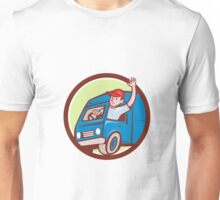 Delivery Man Waving Driving Van Circle Cartoon Unisex T-Shirt