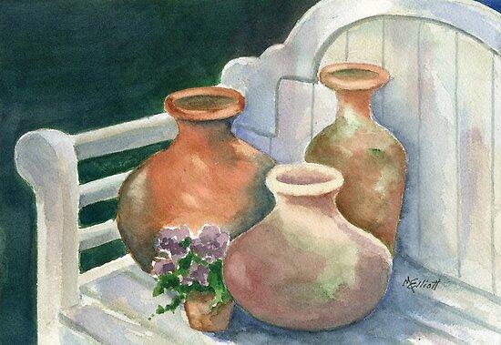 Pots at Andy's Garden by Marsha Elliott