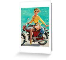 Motorcycle Pinup Girl Greeting Card