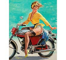 Motorcycle Pinup Girl Photographic Print