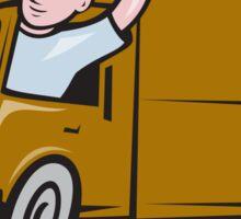 Delivery Man Waving Driving Van Cartoon Sticker