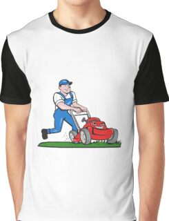 Gardener Mowing Lawn Mower Cartoon Graphic T-Shirt