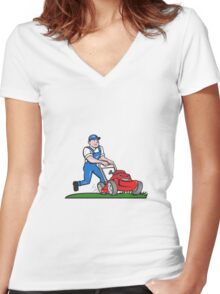 Gardener Mowing Lawn Mower Cartoon Women's Fitted V-Neck T-Shirt