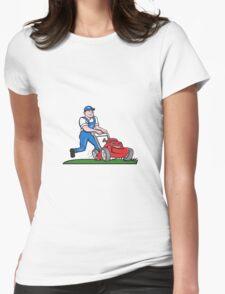 Gardener Mowing Lawn Mower Cartoon Womens Fitted T-Shirt