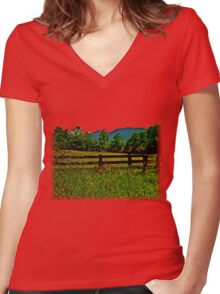 The Old Fence, The Ancient Mountains, and The Wild Field Women's Fitted V-Neck T-Shirt