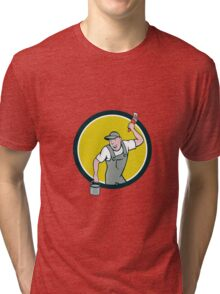 House Painter Paintbrush Paint Bucket Circle Cartoon Tri-blend T-Shirt