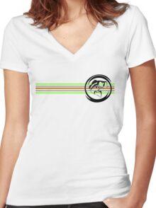 Fresh Life Bass Stripes T-Shirt Women's Fitted V-Neck T-Shirt