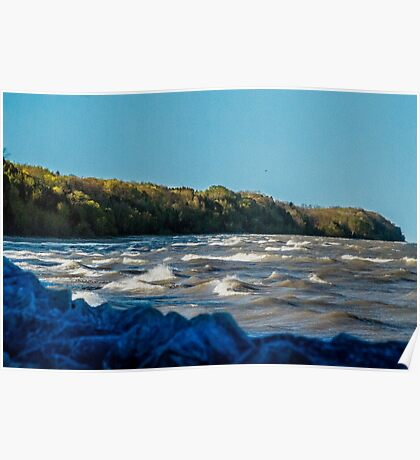 Lake Michigan Shoreline from Port Washington Poster