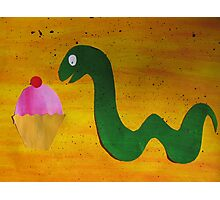 Snake with a Cake Photographic Print