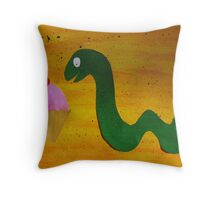 Snake with a Cake Throw Pillow